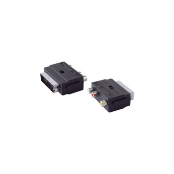 Scart-Adapter mit 3 Cinchbuchsen, IN/OUT Schalter